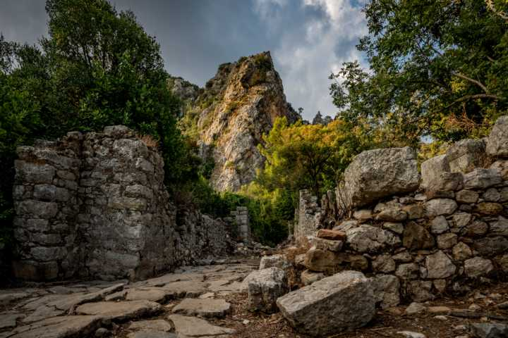 Ancient wall during a tour in Olympos