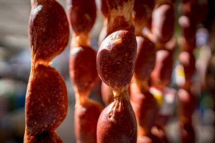 Dried sausages on a bazaar Antalya
